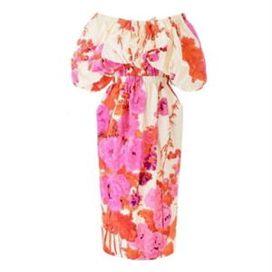 Off The Shoulder Midi Dress with Back Opening and Self Tying Ribbon, Elastic Synch Band at Waist, Side Pockets and Back Split in an Ercu, Pink and Orange Floral Print.  Full Lining  Shell Fabric  95% Polyester  5% Silk