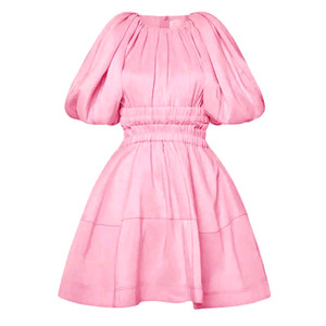 Mini Flare Dress with Short Balloon Sleeves, Back Button Closure, Elastic Band with Cutout at Waist in Pink  Full Lining  75% Polyester  5% Linen  5% Silk