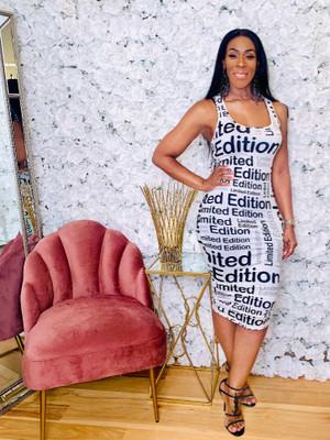 Bodycon Midi Dress with Racer Back Tank Style in Black White and Gray Graphic Print