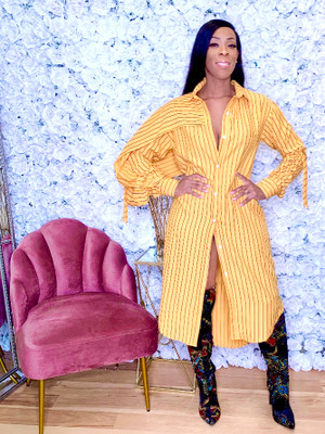 Oversized Button Down Shirt Dress with Back Overlay, One Sleeve Draping and Ruched Sleeve Ties in Mustard with Black Stripes 95% Cotton 5% Spandex