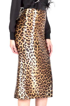 Leopard print midi skirt with banded Waist, back split and hidden back zipper