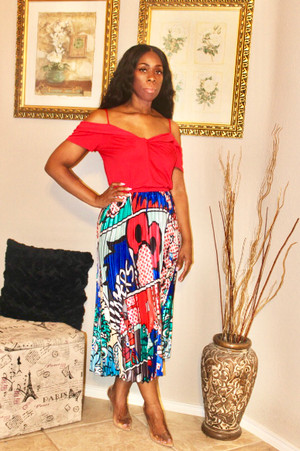 Rayon Blend Cold Shoulder Blousy Crop with banded waist in Red