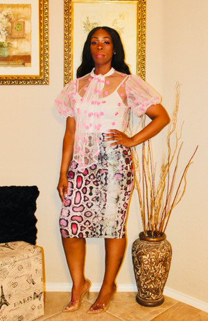 Sheer Mesh Button Down Blouse with Neck Tie and Puffy Sleeves with Pink Polka-Dots