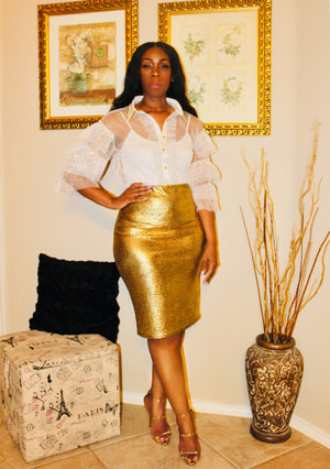 White Mesh Button Down Blouse with Gold Polka-dots and tiered ruffled sleeves.