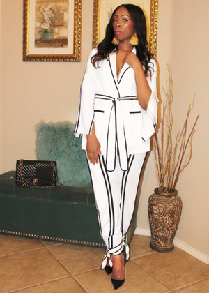 White Jacket & Pant Suit trimmed in Black with Belt and Side Splits on arms and legs