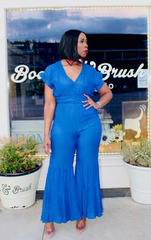Royal Blue Jumpsuit with Wavy Sleeves, Wavy Wide Legs, Banded Button Waist and Back Opening