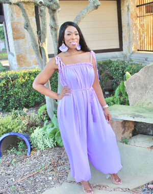 Lavender Baggy Jumpsuit with Tieable Spaghetti Straps, Tassel Belt and Tapered Wide Legs