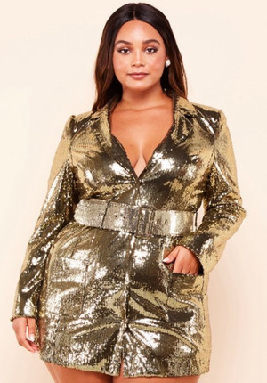 Gold Sequin Blazer Mini Dress with Front Button Closure and Wide Belt.