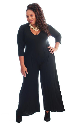 Knit Jumpsuit with Pockets and Wide Legs in Black (one size fits up to 2X)