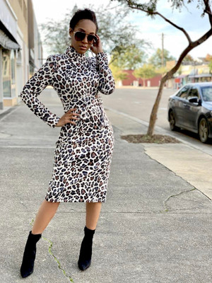 Mock Neck Belted Midi Dress with Long Sleeves in Cream, Gray and Tan Leopard Print.