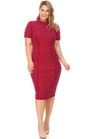 Mock Neck Midi Dress with Pearl and Rhinestone Design in Red.