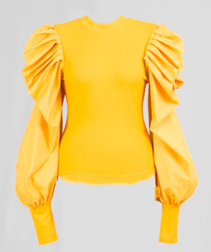 Statement Top with Knit Bodice, Long Exaggerated Puff Sleeves and Sleek Wrist Cuff In Mustard Gold