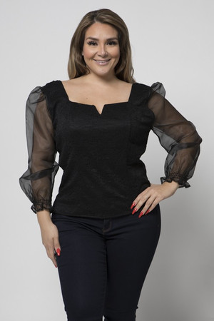 Lace Bustier Blouse with Long Organza Sleeves and Back Zip Closure in Black.