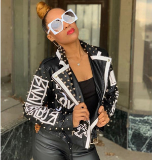 Motto Jacket with Leather Bodice, Leather Sleeves, Leopard Print Back with Word Patches, and Metal Studs.