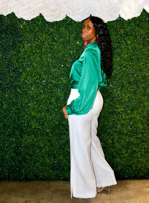 Long Bell Sleeve Twisted Knot Satin Top with Mock Neck in Kelly Green
