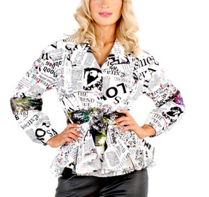 Peplum Jacket with News Paper Print, Sequined Camouflage Belt, Back Panel and Arm Bands