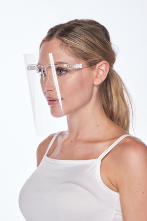 Transparent Detachable Medical Full Face Clear Shield with White Frame Clips