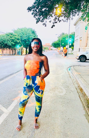 Tube Top Jumpsuit with Ruched Bodice and Side Pockets in Blue, Orange and Yellow Tie Dye with Brushed DTY Fabric