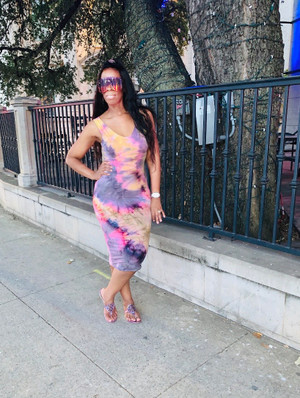 V Neck Midi Dress in Lavender, Pink and Yellow Tie Dye with Brushed DTY Fabric.