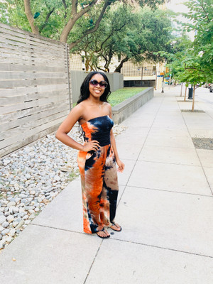 Tube Top Jumpsuit with Ruched Bodice, Side Pockets and Wide Legs in Tan, Orange and Black Tie Dye with Brushed DTY Fabric.