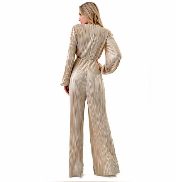 Long Sleeve Pleated Lurex Jumpsuit with Keyhole and Side Cutouts in Champagne Gold
