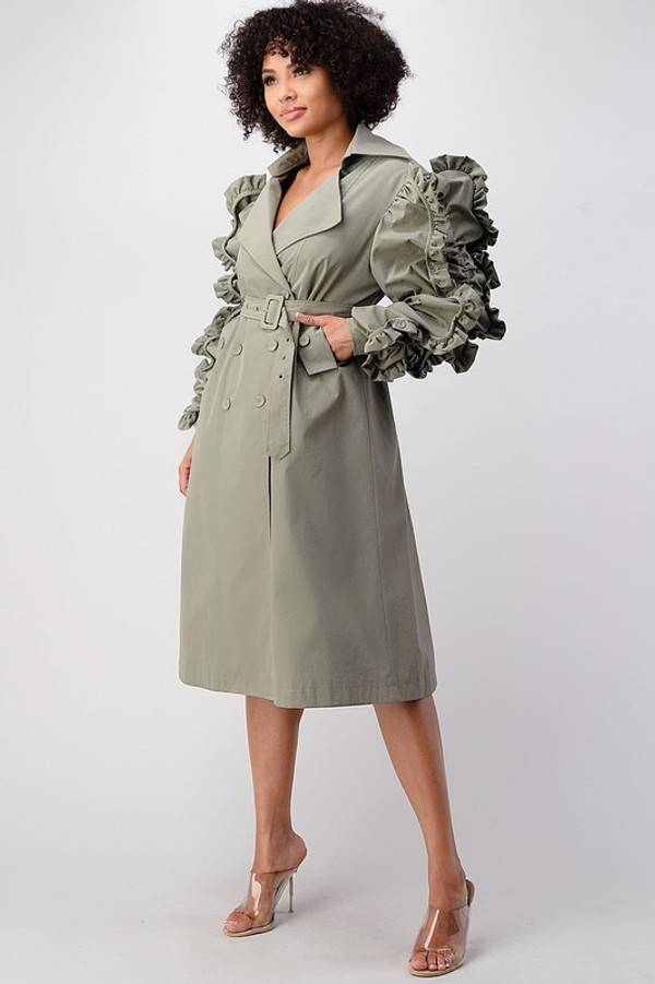 Double Breasted Coat Dress with Ruffle Puff Sleeves, Side Pockets and a Belt in Sage.