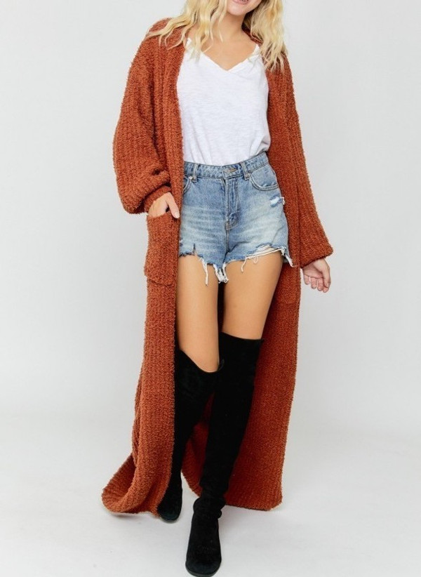 Maxi Sweater Cardigan with Draped Puffy Sleeves in Rust