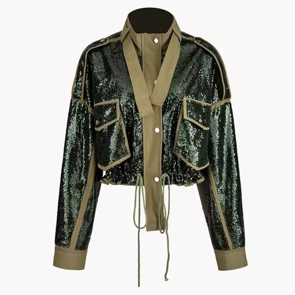 Oversized Military Style Sequins Bomber with Adjustable Draw String and Button Closure in Green/Olive.