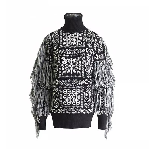 Black and White Monochrome Image Turtle Neck Sweater with Fringe Arms.