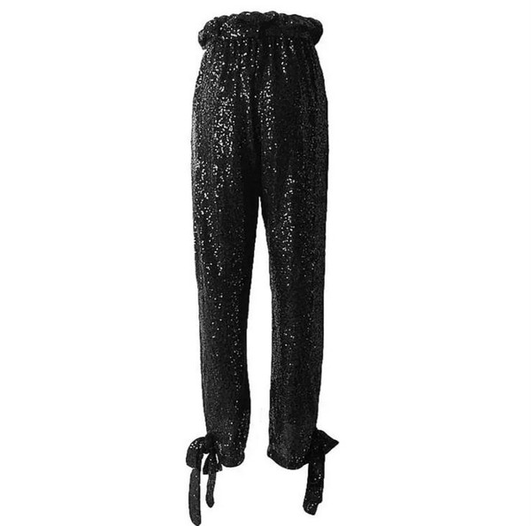 High-Waist Paper Bag Trousers with Self Tie Belt and Ankle Ties in Black Mini Paillete Stretch Sequins.