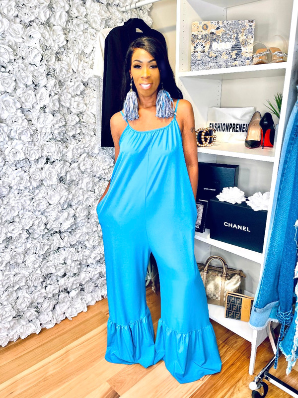 Oversized Jumpsuit with Ruffled Wide Legs, Adjustable Cami Straps and Side Pockets in Blue or Citrus.