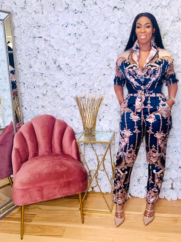 Two Piece Set with Front Button Blouse, Trousers with Side Pockets in a Navy, Blush and Rust Satin Floral Print (Loose Fit Minimal Stretch)