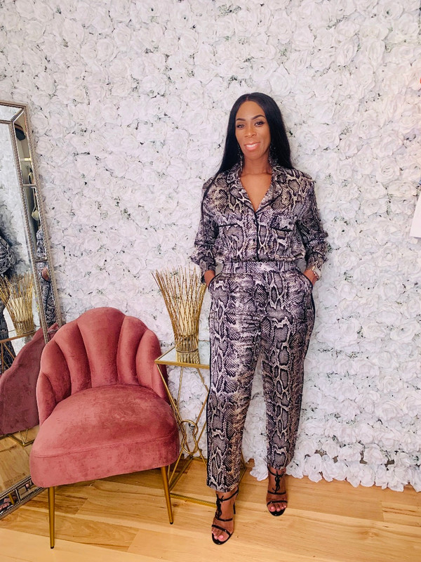 Two Piece Set with Front Button Blouse, Trousers with Side Pockets and Side Piping in a Silk Snakeskin Print (Loose Fit Minimal Stretch)