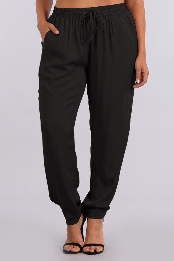 Drawstring pants with gold finished hardware, side pockets, gold zip back pocket and tapered ankles