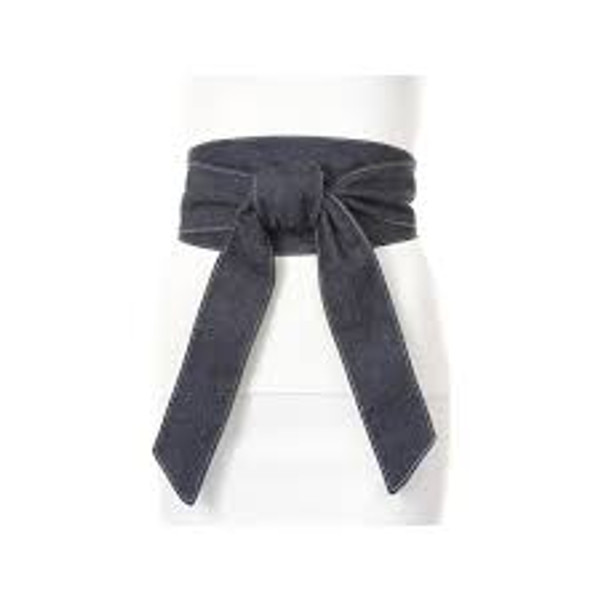 Wide Wrap Kimono Belt in Black Leather, Cream Leather and Gray Suede
