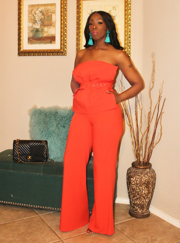 Strapless Tube Jumpsuit with Pleated Bow Detail, Belt and Wide Legs in Tomato Red.