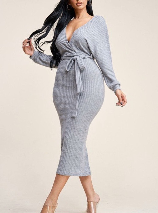 Jersey Gray Long Sleeve Sweater Knit  Midi Dress with Suplice Neckline and Belt.