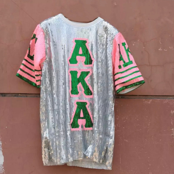 Sequin Tunic with Greek Letters in Sliver, Pink and Green