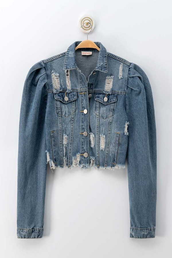 Distressed Vintage Washed Denim Puff Sleeve Cropped Jacket with Raw Hem