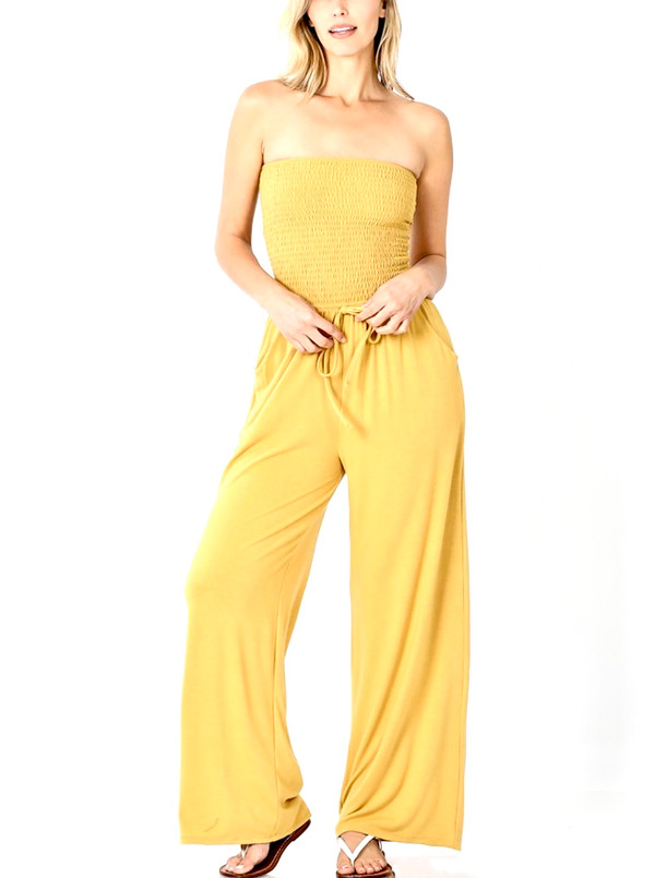 Tube Top Jumpsuit With Smocked Bodice, Waist Tie and Side Pockets in Lite Mustard.