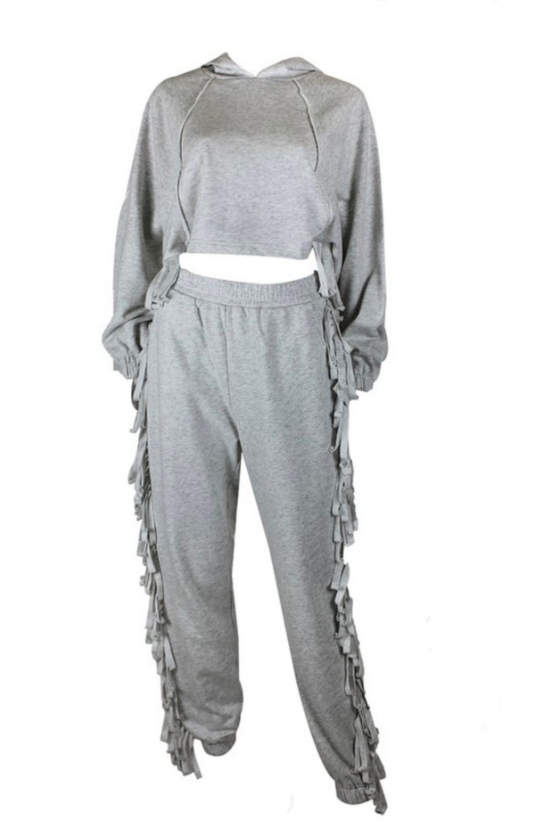 Cropped Hoodie Jogger Set with Fringe and Pockets in Heather Gray