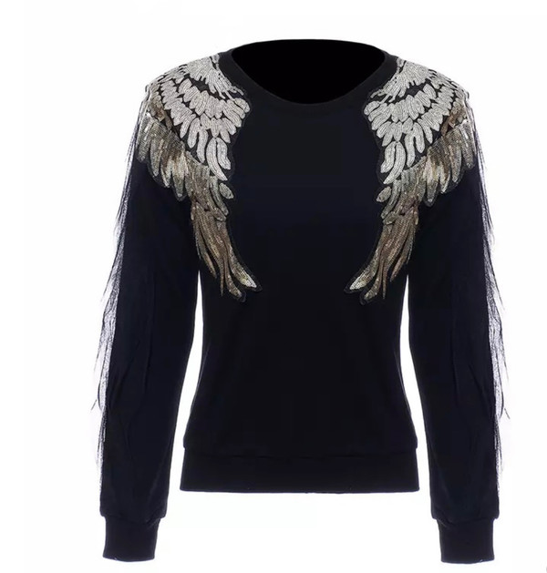 Black Sweatshirt with Mesh Detail Sleeves and Gold Hardware Wings.