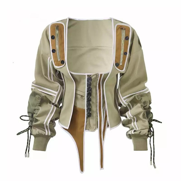 Victorian Style Bomber and Versatile Bustier/Cami with Buttons, Zippers and Drawstring Detail in Tan or Black with Olive/Cognac/White Trim