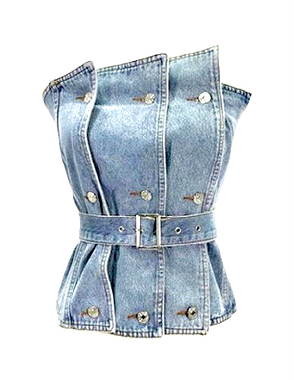 Denim Bustier with Asymmetric Edge, Front Button Details and Denim Belt in a Medium Wash Elastic Back Hem 98% Cotton 2% Polyester