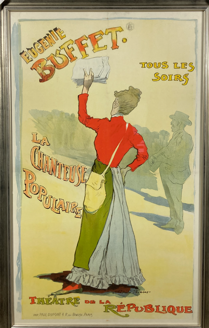 Original stone lithograph on linen 1895 advertising singing star Eugenie Buffet showing french woman selling newspapers