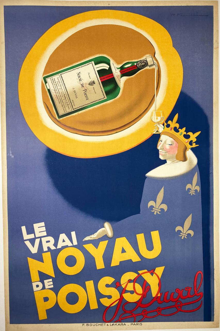 Le Vrai Noyau de Poissy by Feuillie original stone lithograph on linen classic fruit and spiced cognac 1920