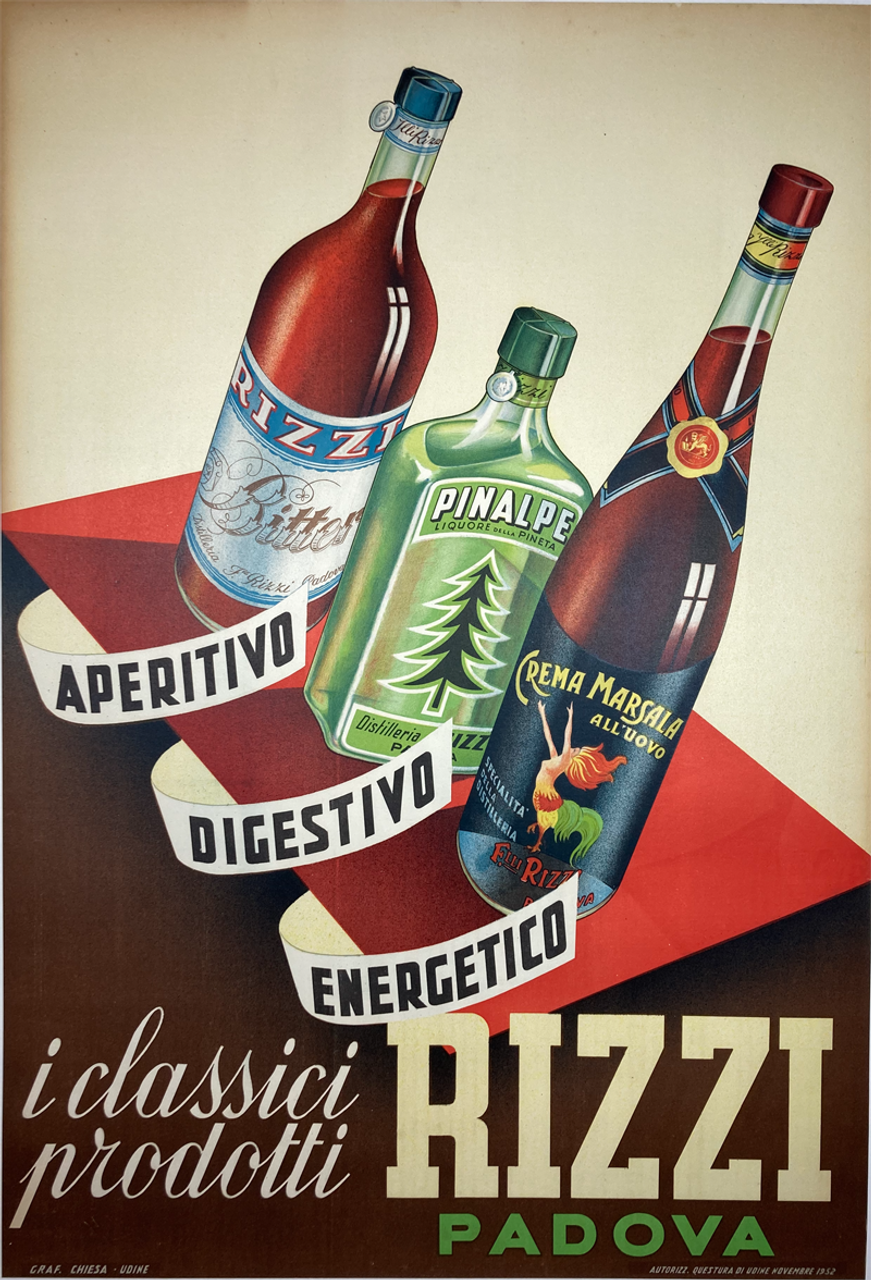 Rizzi Padua original lithograph advertising liqueurs from Italy