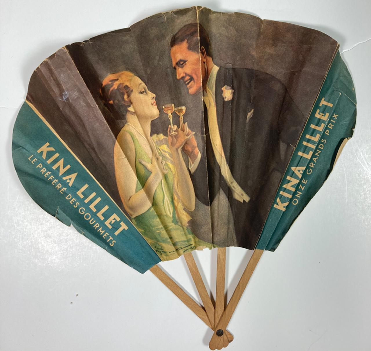 Original antique advertising fan for Kina Lillet for sale