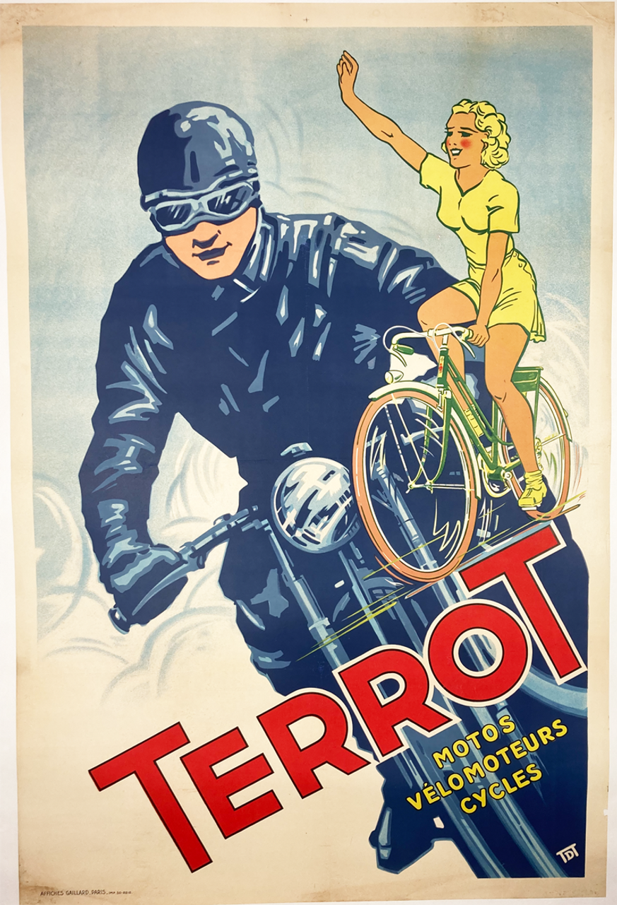 Original french lithograph 1952 advertising Terrot cycles