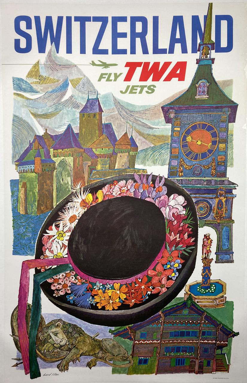 Original lithograph on linen by David Klein advertising travel to Switzerland on TWA